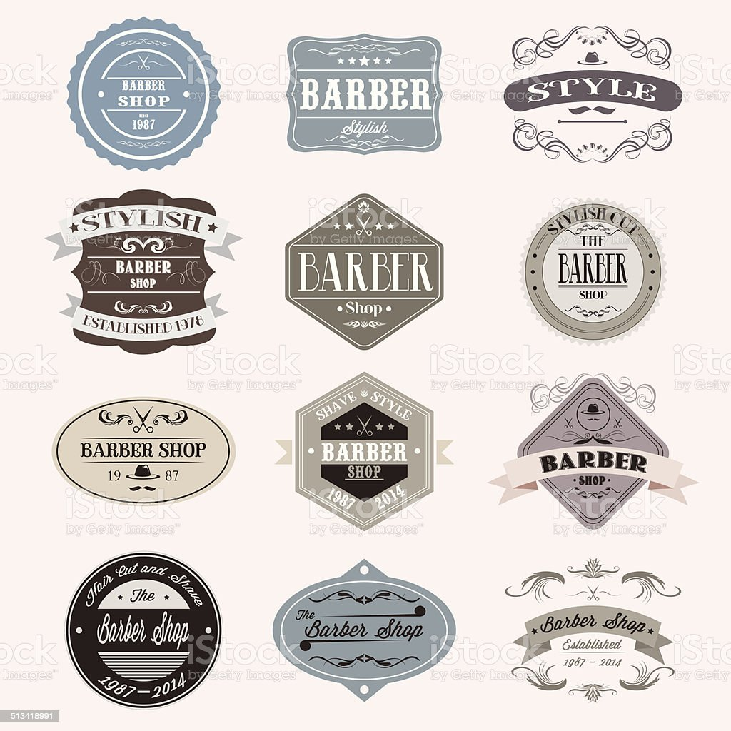 Clip art vector of vintage barber shop logo graphics and icon vector - Set Of Vintage Barber Shop Logo Badge Graphics And Icons Royalty Free Stock Vector