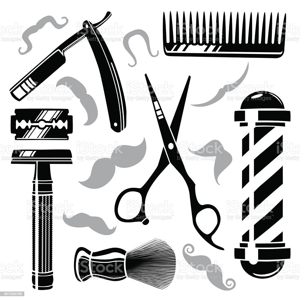 Vintage Barber Clipart Set Of Vintage ...