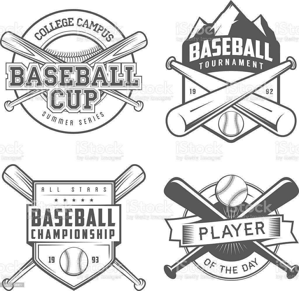 Set of vintage baseball labels and badges vector art illustration