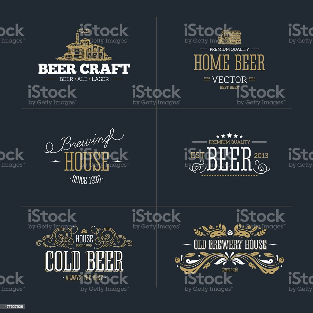 Set of vintage beer badge and logo. Vector illustration vector art illustration