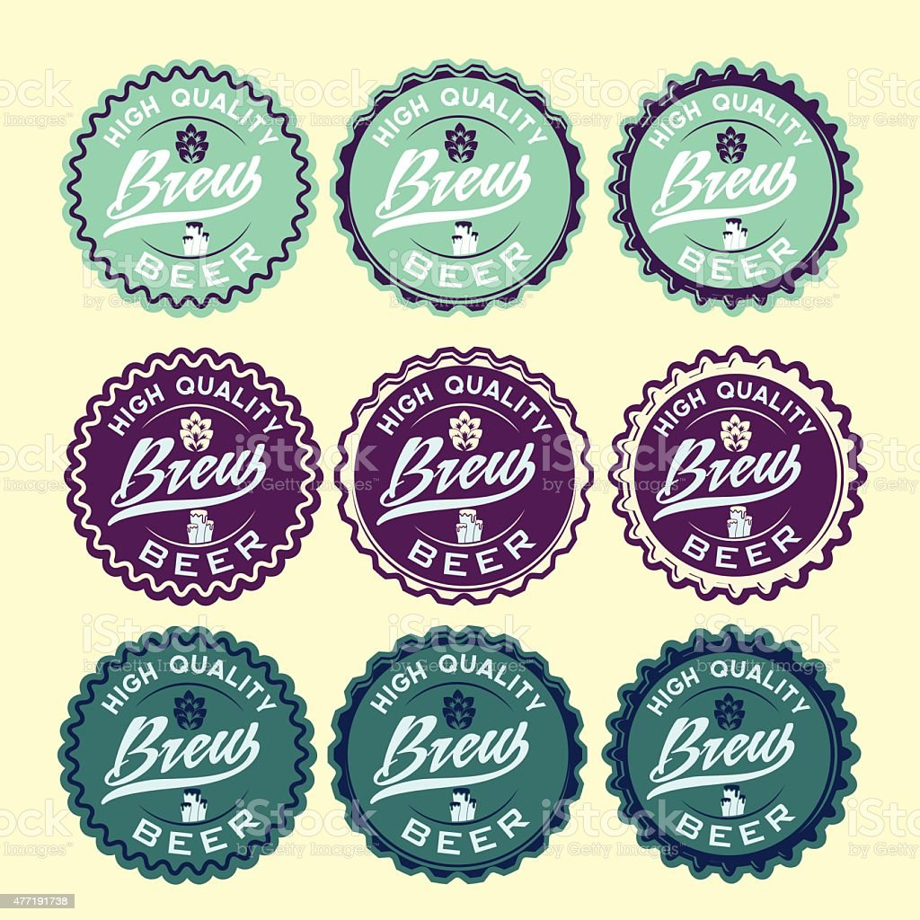 set of vintage beer labels vector art illustration