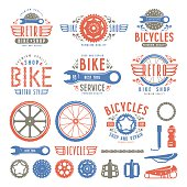 Set of vintage bike shop badges and labels