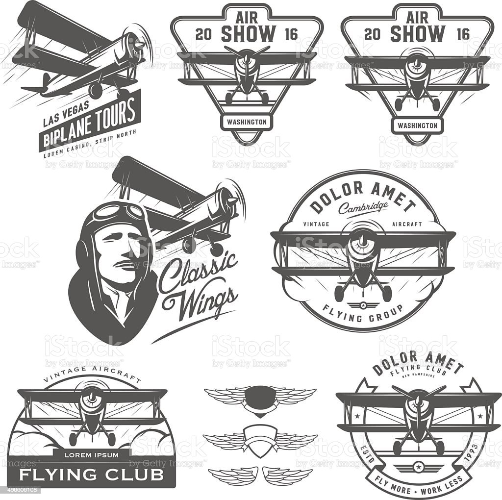 Set of vintage biplane emblems, badges and design elements vector art illustration