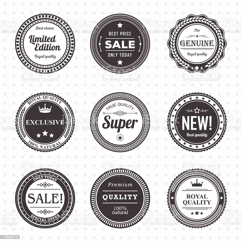 Set of vintage black and white labels. Templates icons vector art illustration