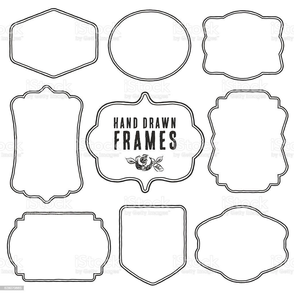 Set of vintage blank frames and labels. vector art illustration