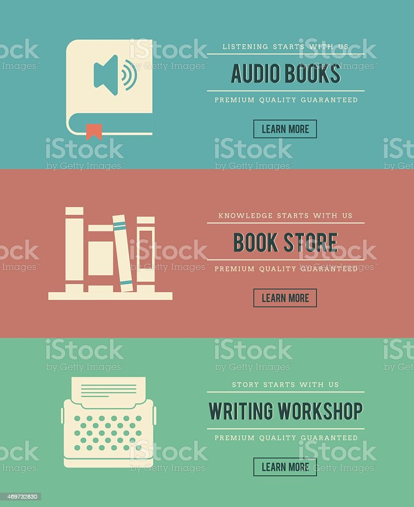 set of vintage books related banners vector art illustration