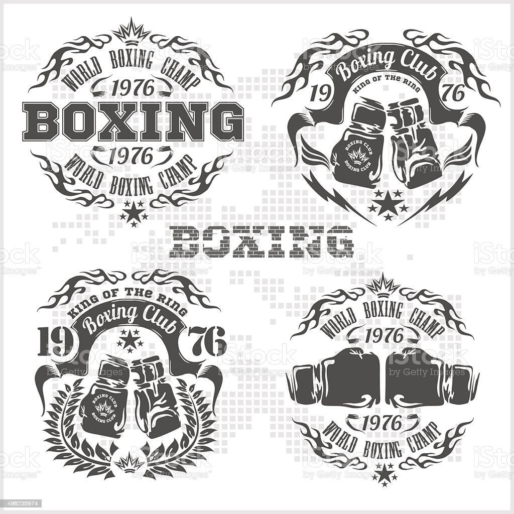 Set of vintage boxing emblems, labels, badges, logos and designed vector art illustration