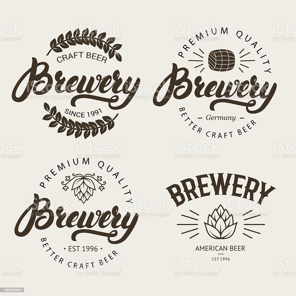 Set of vintage brewery badge, label, logo template designs. vector art illustration