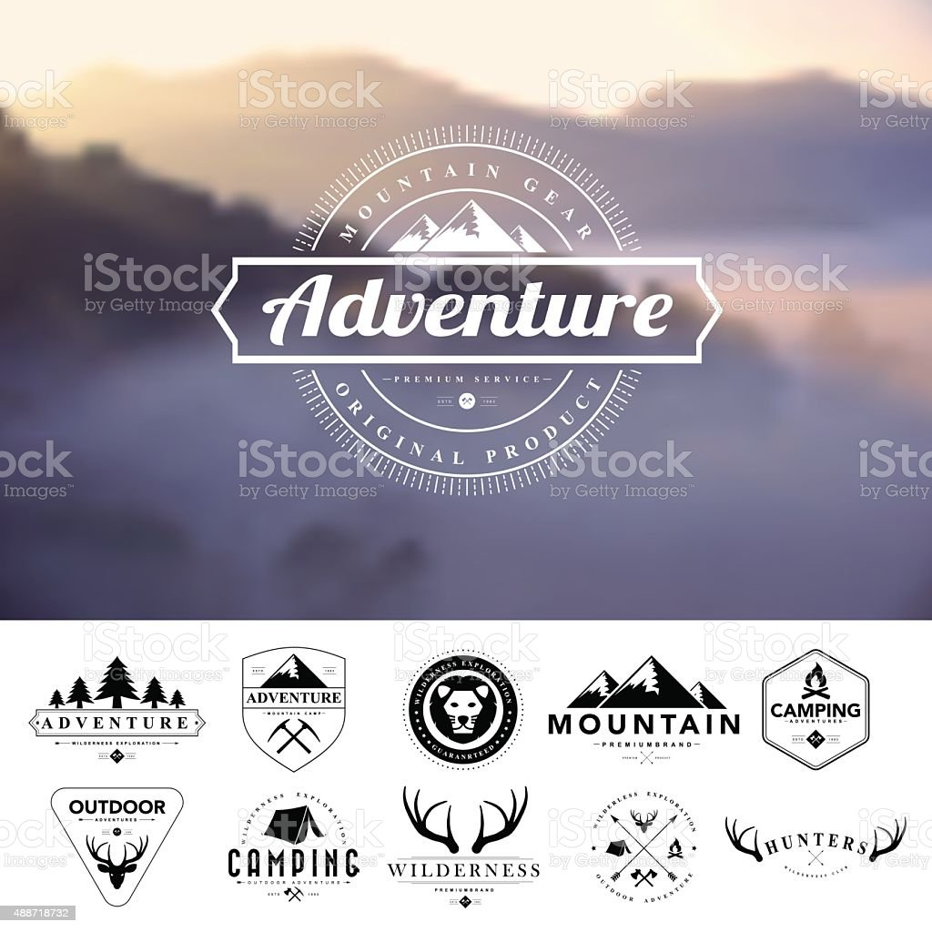 Set of vintage  camping badges and labels vector art illustration
