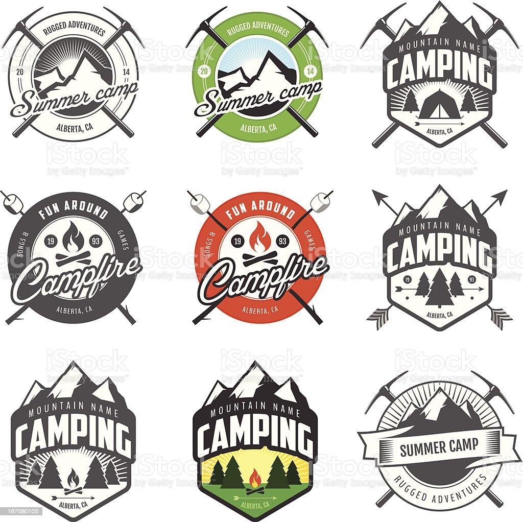 Set of vintage camping labels and badges vector art illustration