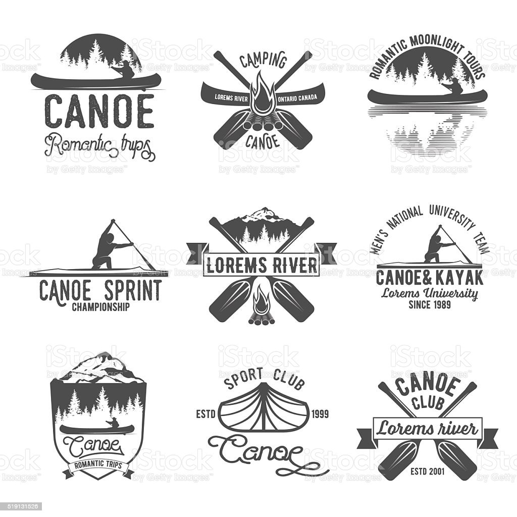 Set of vintage canoeing  logo vector art illustration