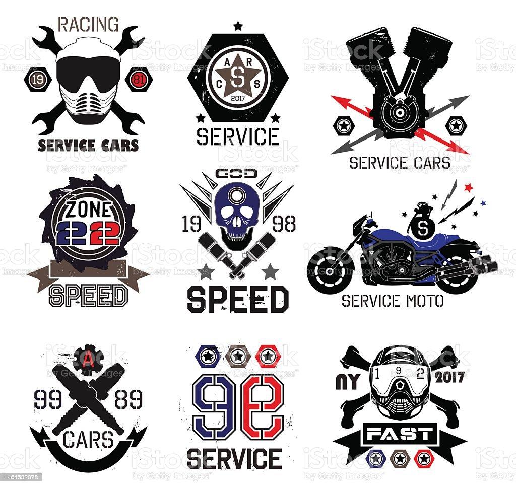 Set of vintage Car races and service logo and design elements vector art illustration