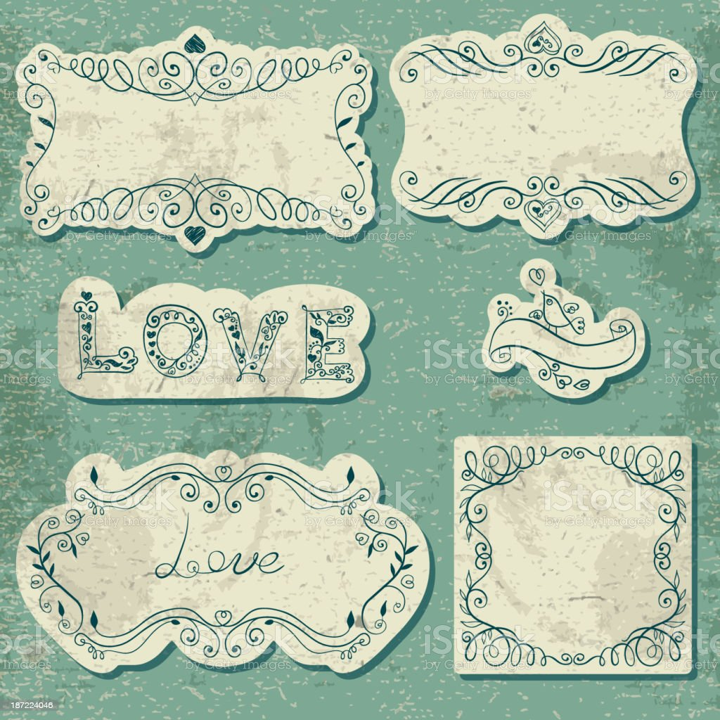 Set of vintage cards with calligraphic elements royalty-free stock vector art