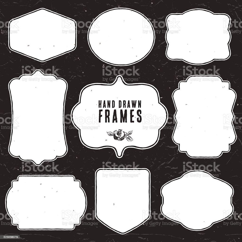 Set of vintage chalk frames and labels. vector art illustration