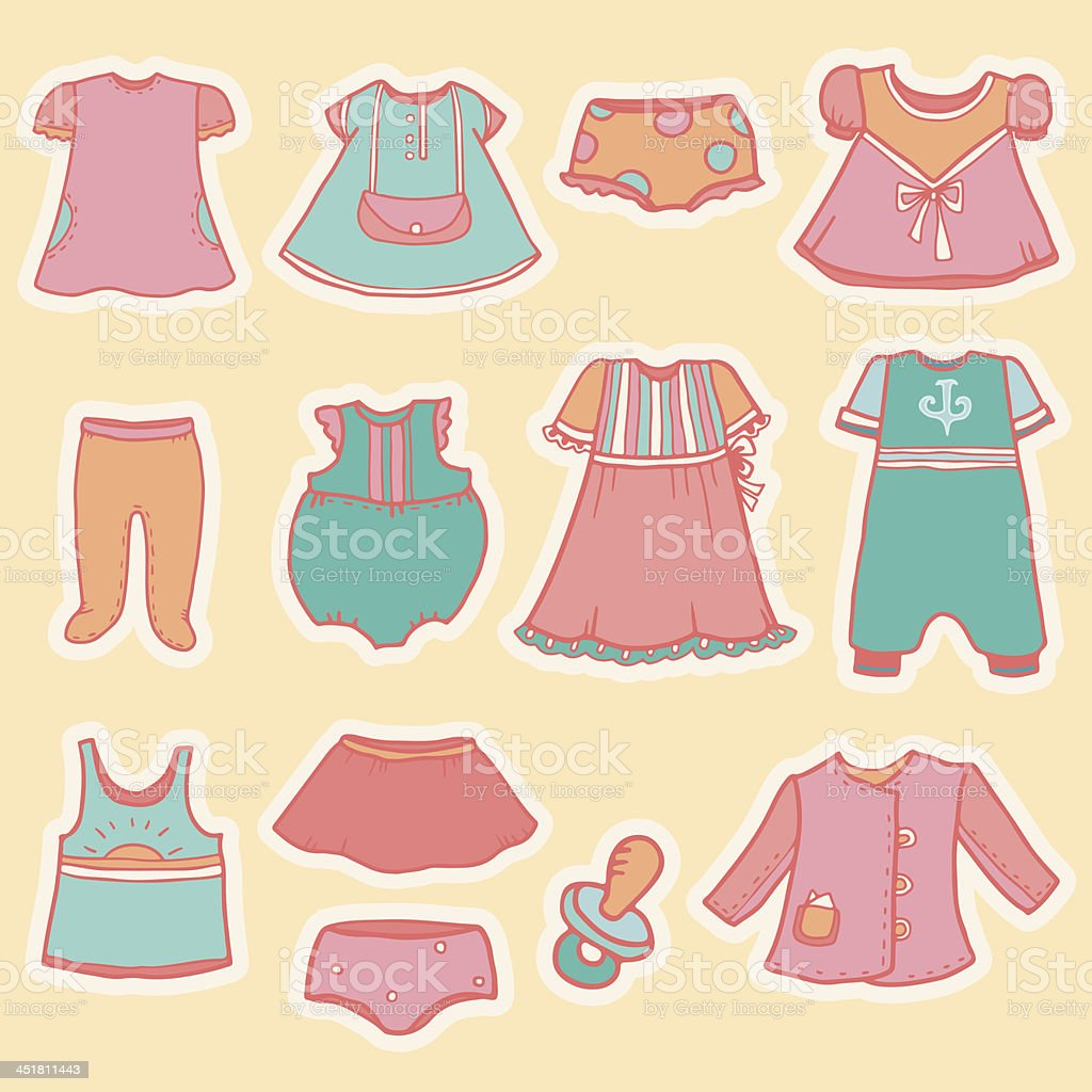 Set of vintage children's clothing and soother royalty-free stock vector art