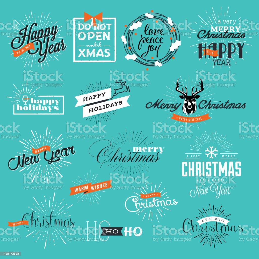 Conjunto de vintage Navidad y Año Nuevo etiquetas y elementos illustracion libre de derechos libre de derechos