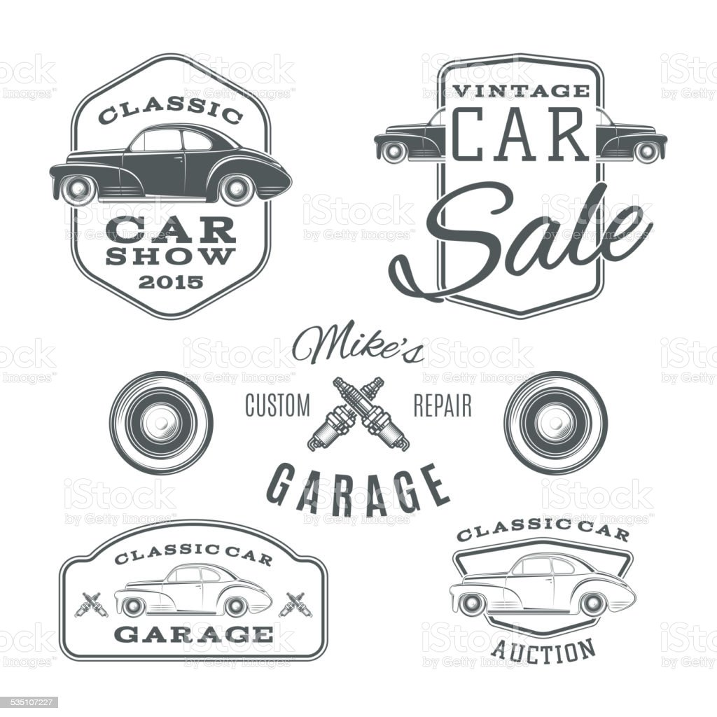 Set of vintage, classic car services labels isolated on white vector art illustration