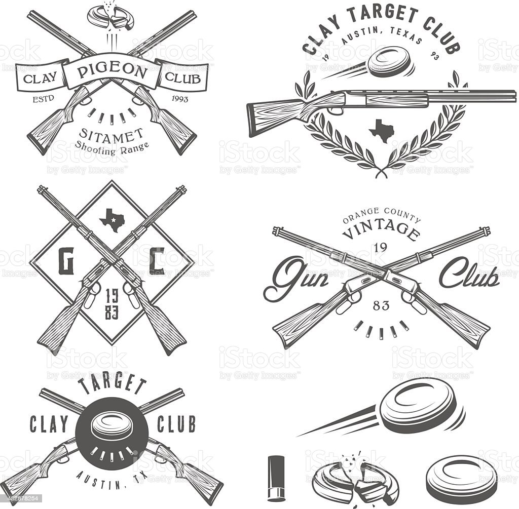 Set of vintage clay target labels, emblems, design elements vector art illustration