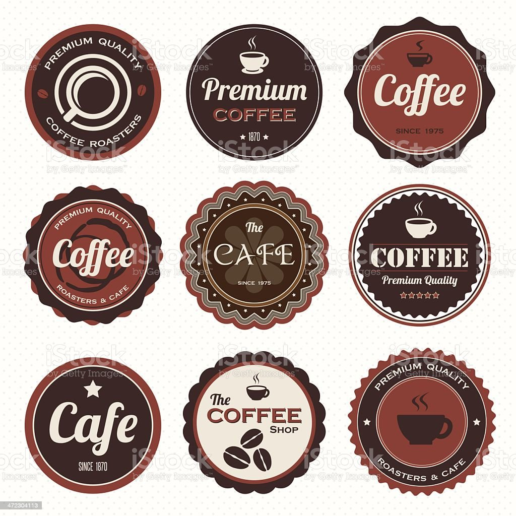 Set of vintage coffee badges and labels. royalty-free stock vector art