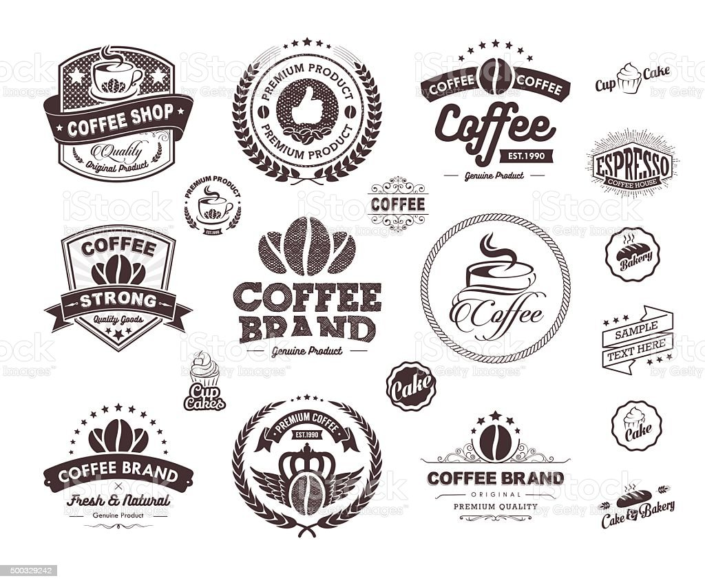 Set of Vintage coffee badges and labels vector vector art illustration