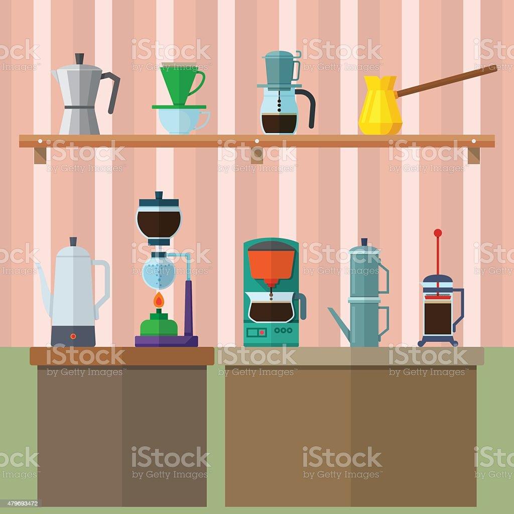 set of vintage coffee maker on shelf and table. vector art illustration