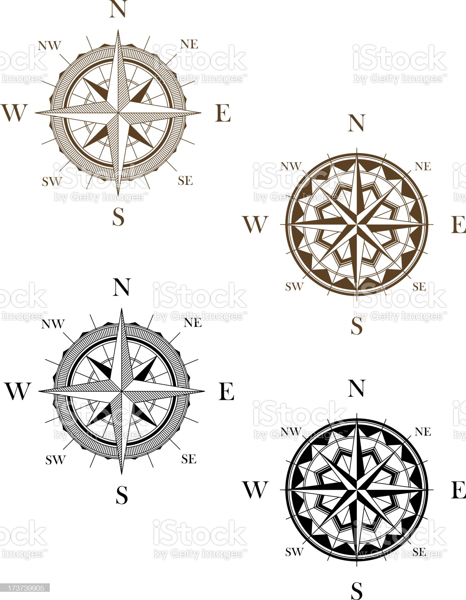 Set of vintage compass signs royalty-free stock vector art