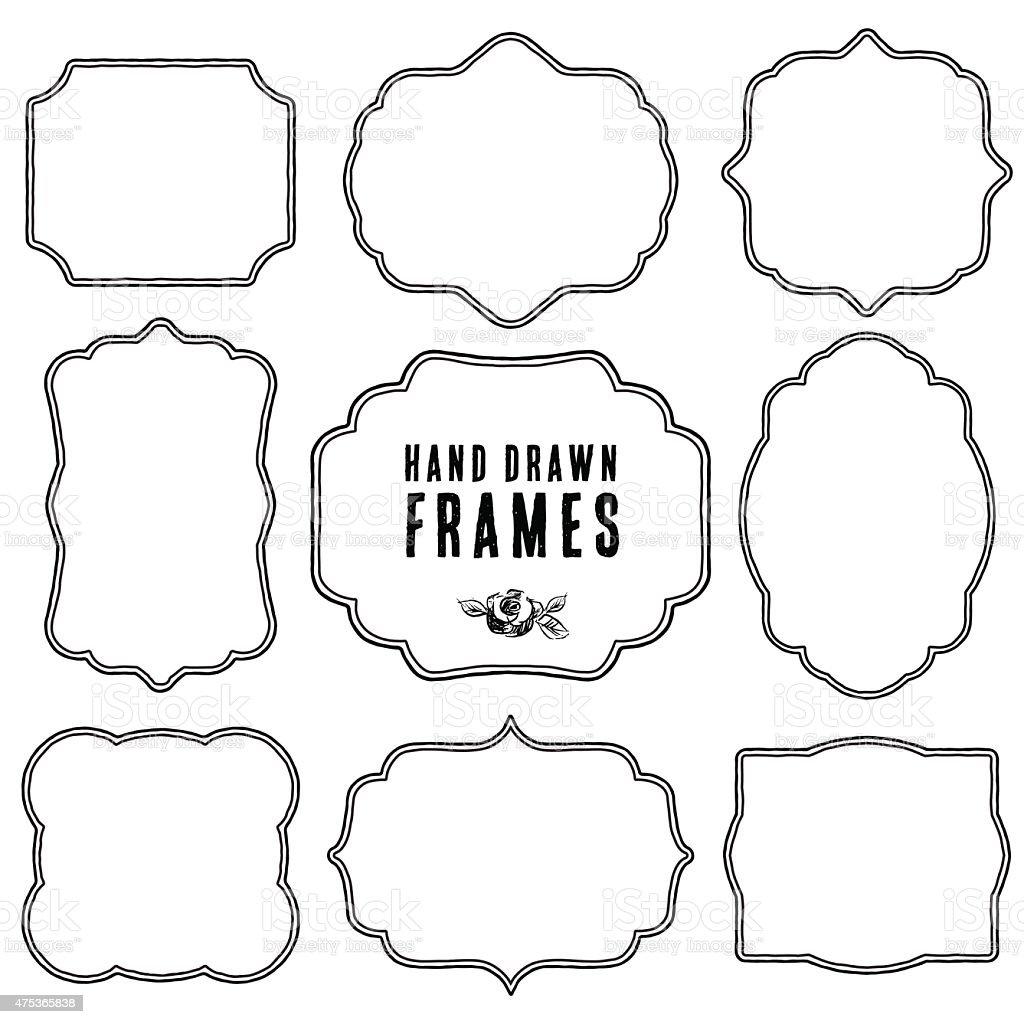 Set of vintage contour blank frames and labels. vector art illustration