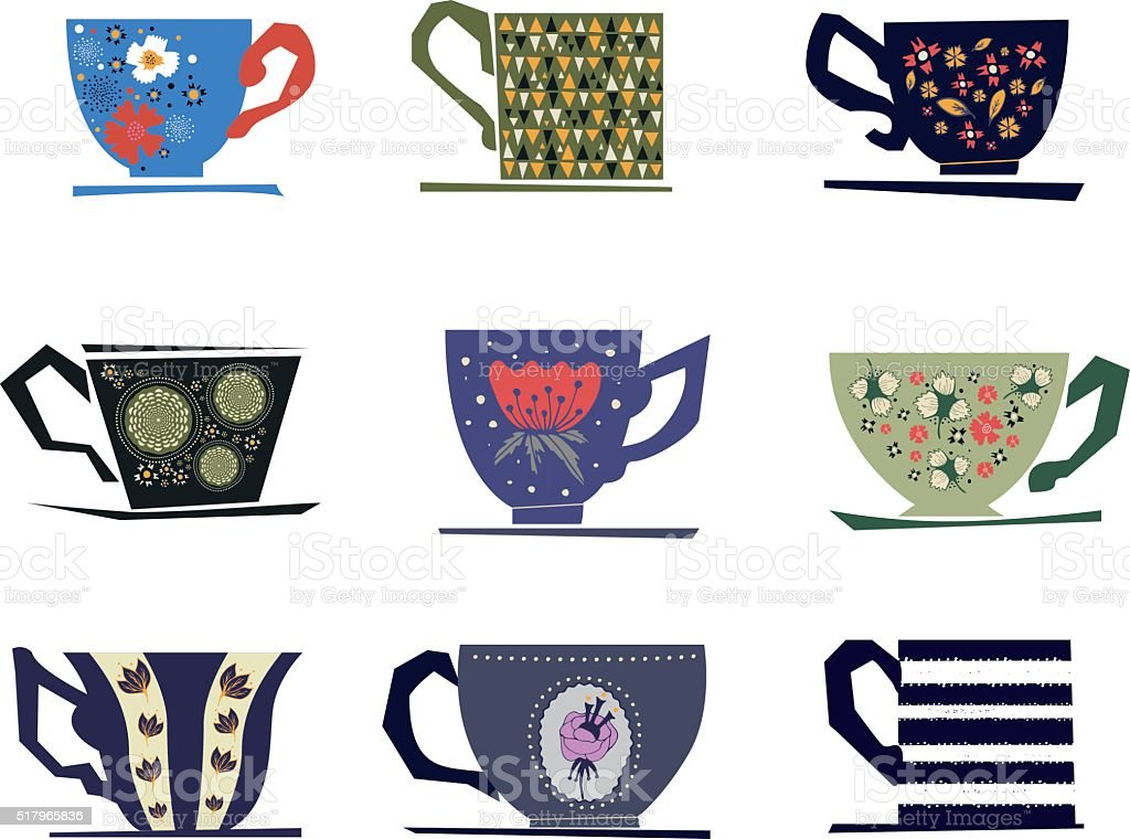 Set of vintage cups. vector art illustration