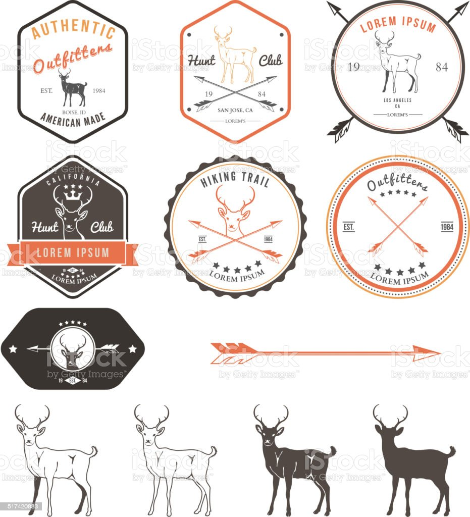 Set of vintage deer icons, emblems and labels vector art illustration