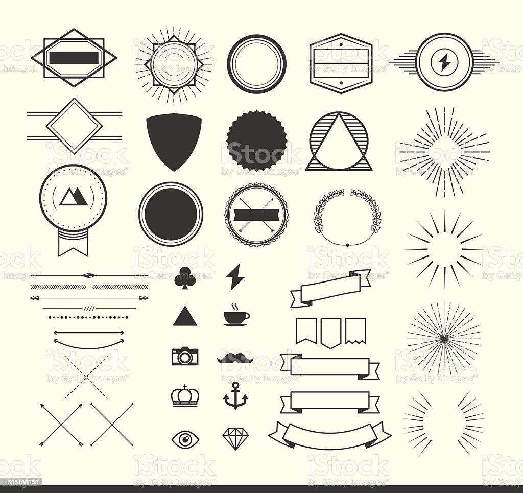 set of vintage elements for making logos, badges and labels vector art illustration