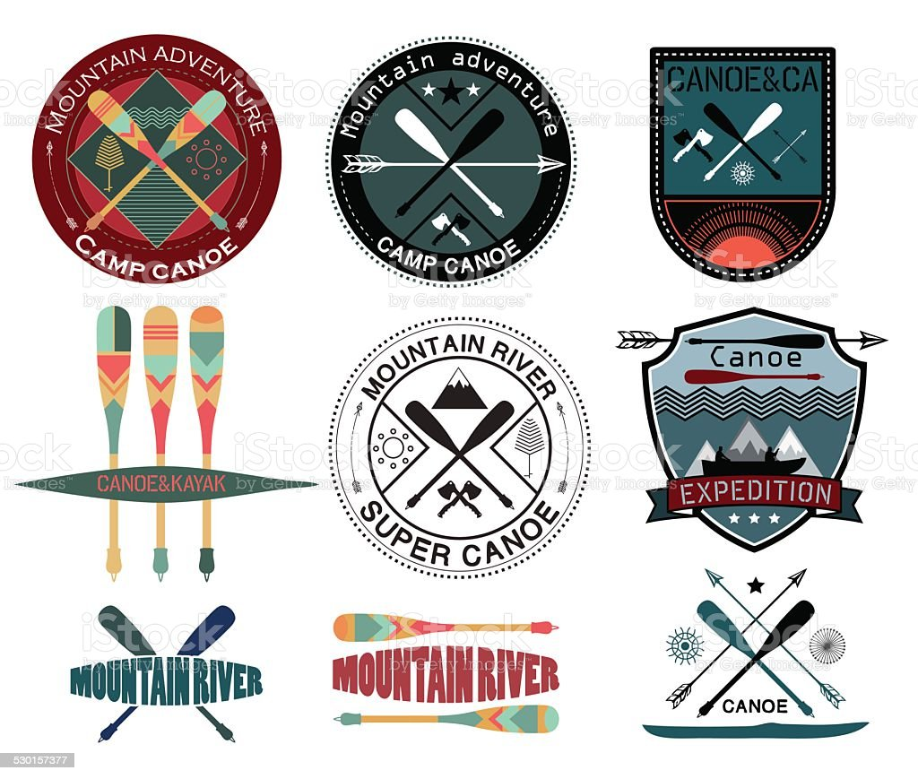 Set of  vintage expedition labels and logo vector art illustration