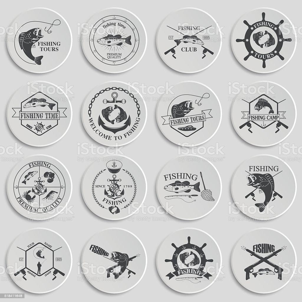 Set of vintage fishing labels, badges and design elements. vector art illustration