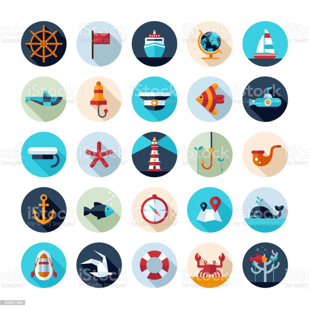 Set of vintage flat design modern nautical, marine icons vector art illustration