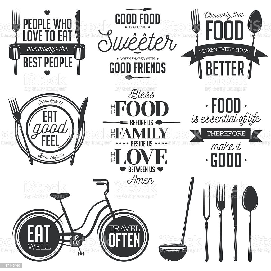 Set of vintage food related typographic quotes. Vector illustration. vector art illustration