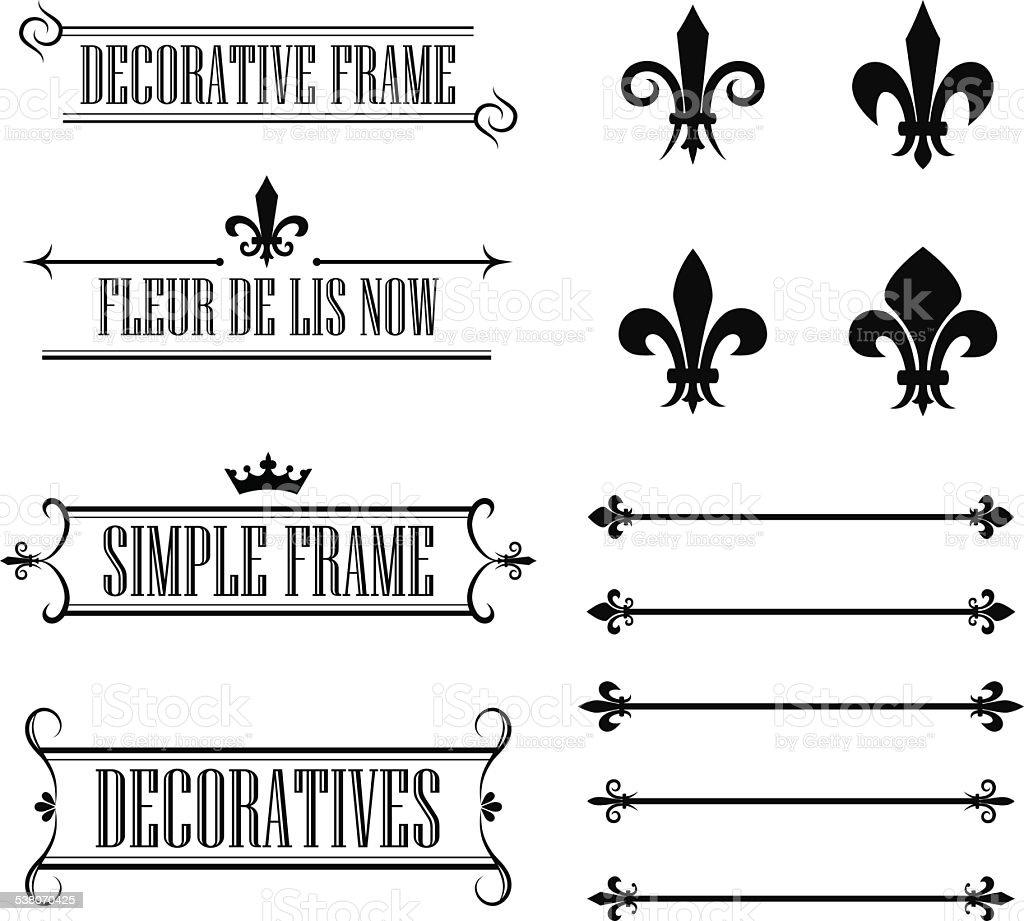 Set of vintage frames, borders and design elements vector art illustration