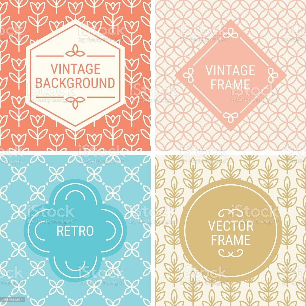 Set of vintage frames in Orange, Blue, Gold and Beige vector art illustration