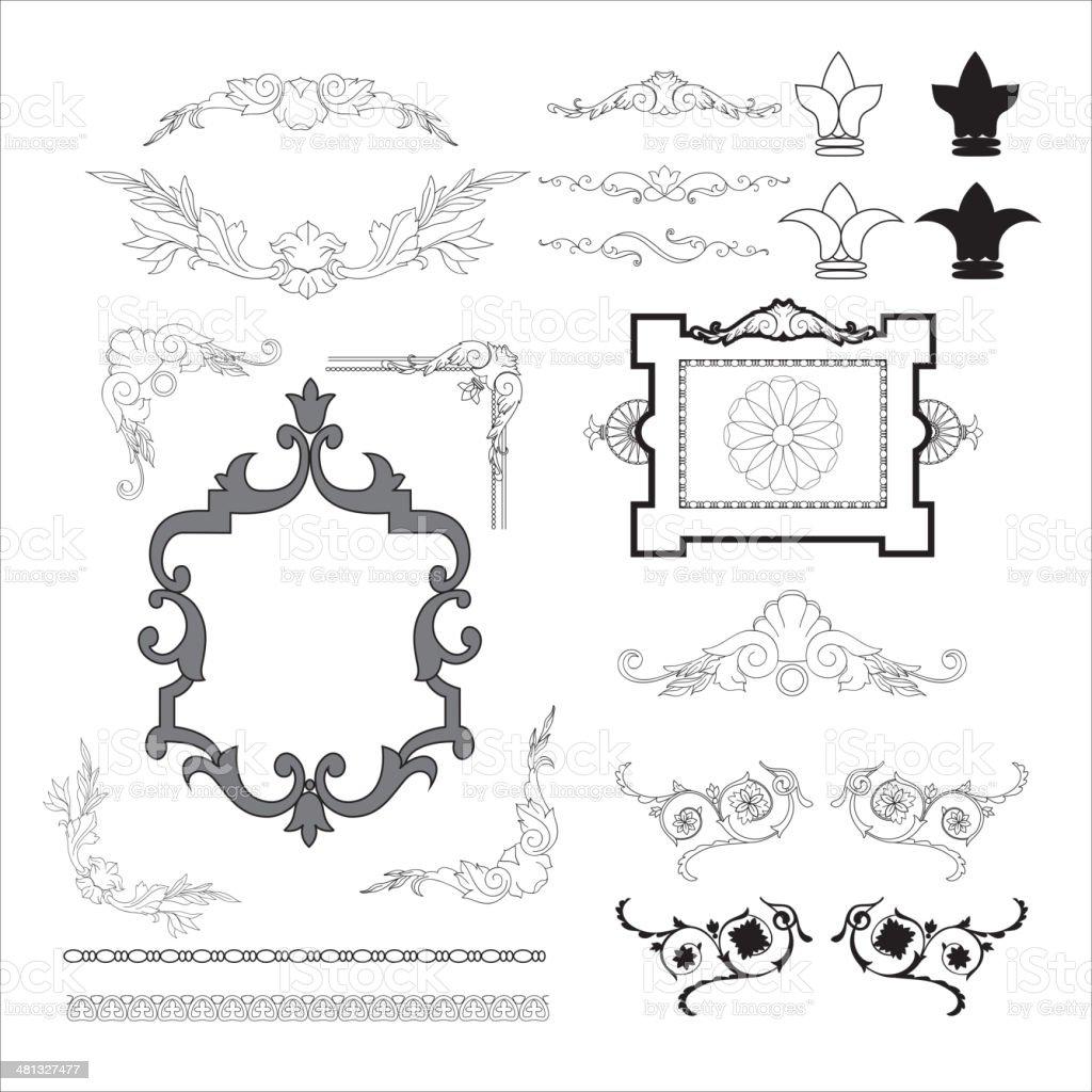 set of vintage frames vector art illustration