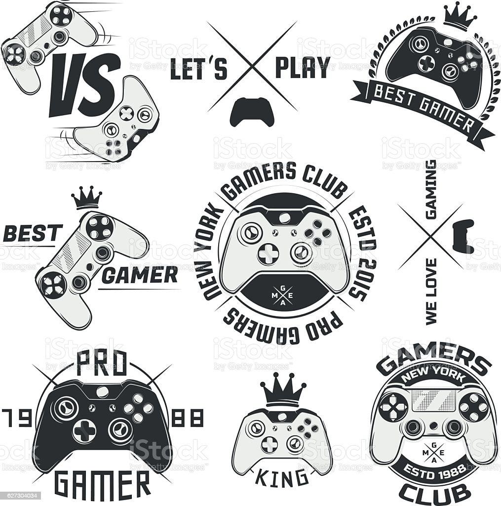 Set of vintage gamepad emblems,logos and design elements vector art illustration
