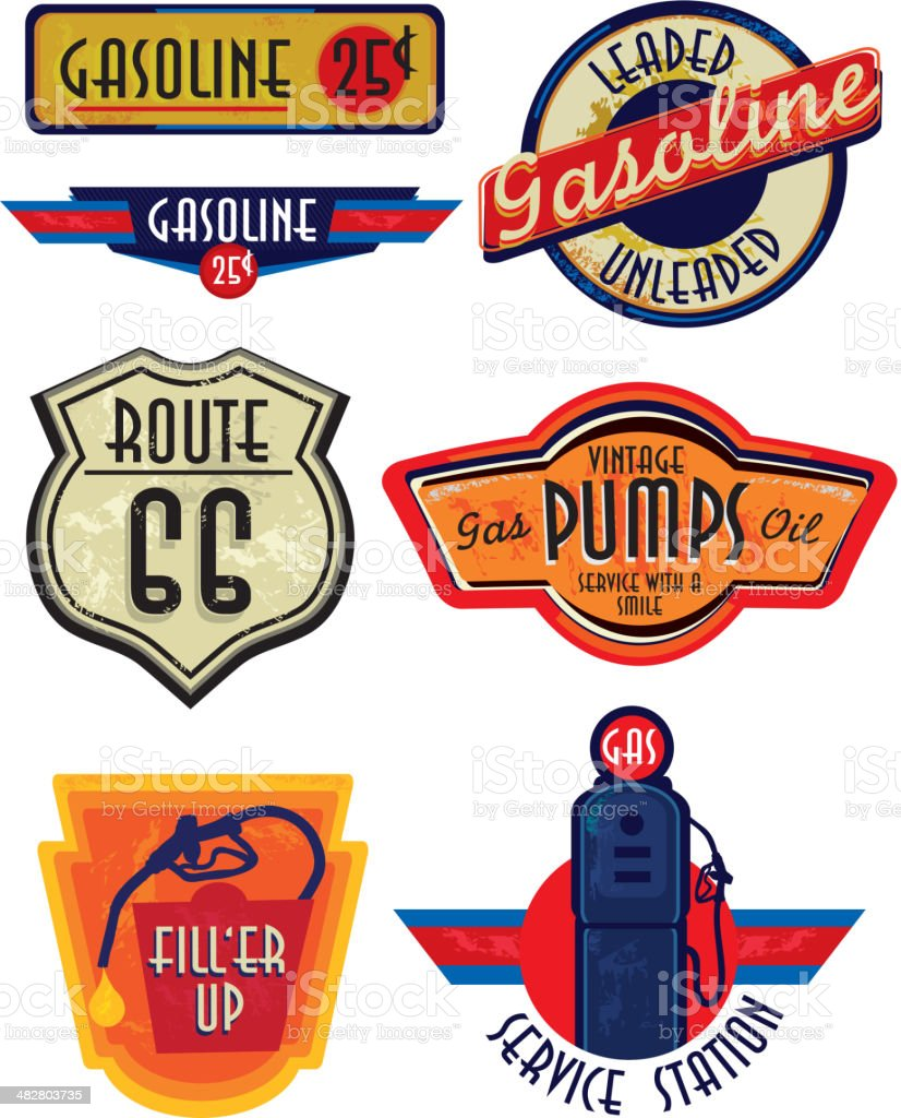 Set of Vintage Gas Bar signs vector art illustration