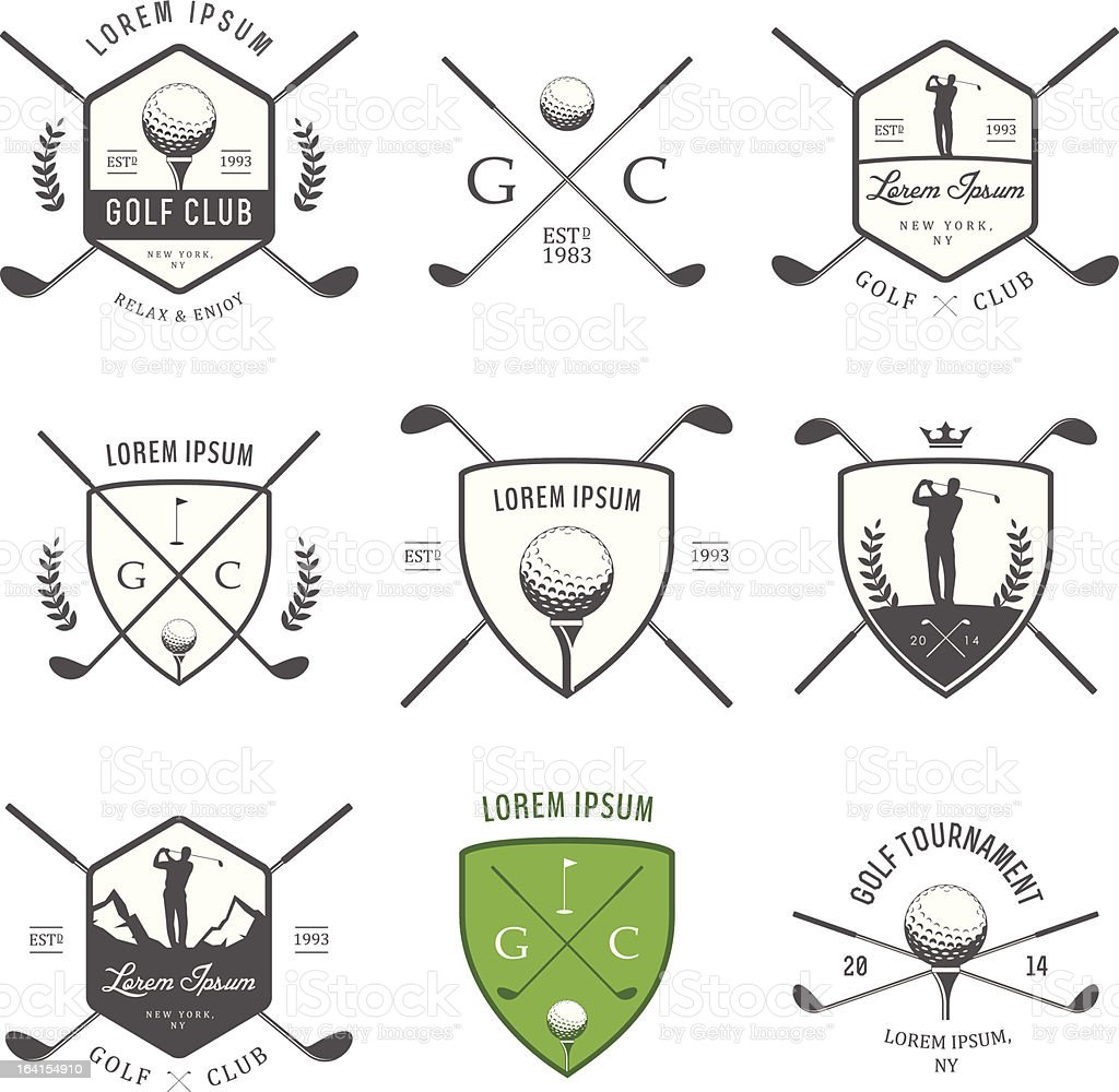 Set of vintage golf labels, badges and emblems vector art illustration