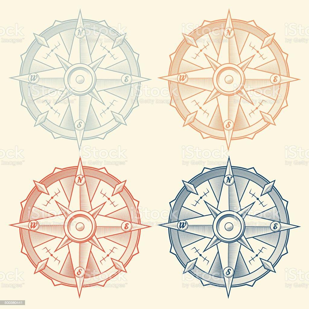 Set of Vintage Graphic Compasses vector art illustration