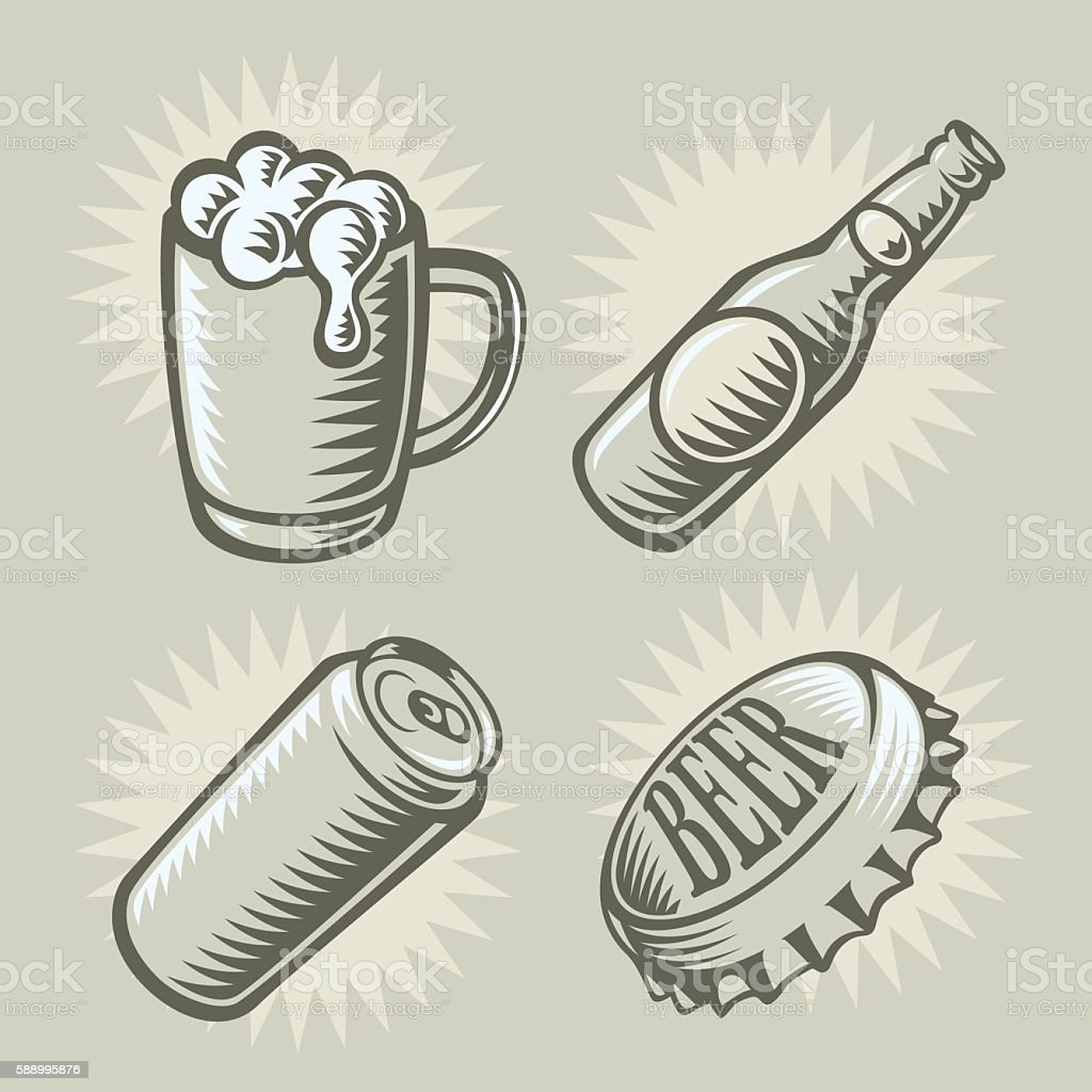 Set of vintage graphics of beer icons vector art illustration