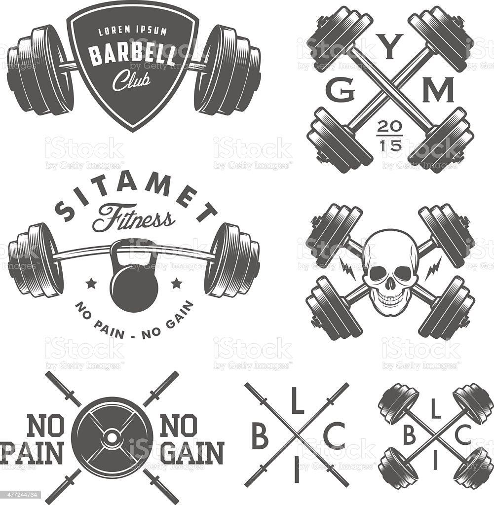 Set of vintage gym emblems, labels and design elements vector art illustration