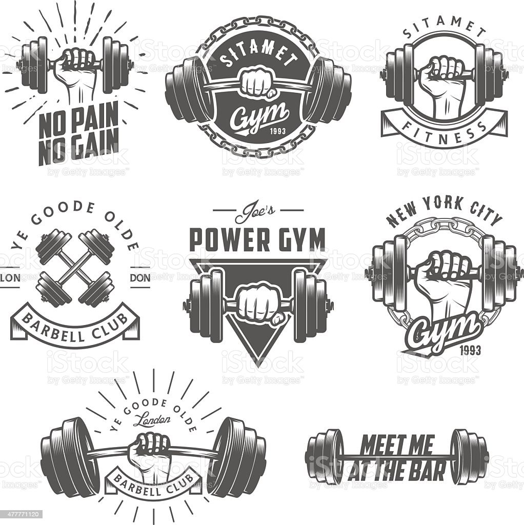 Set of vintage gym emblems, labels and design elements vector art illustration
