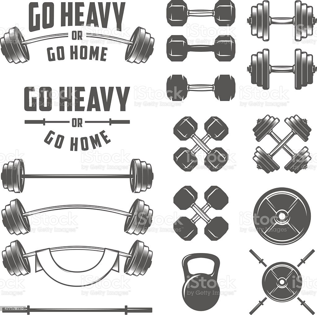 Set of vintage gym equipment, quotes and design elements vector art illustration