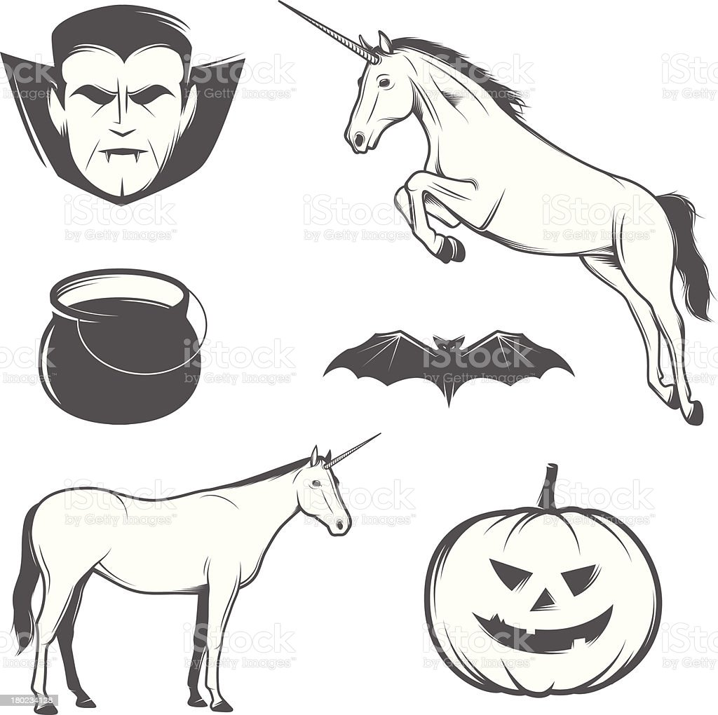Set of vintage Halloween characters and design elements royalty-free stock vector art