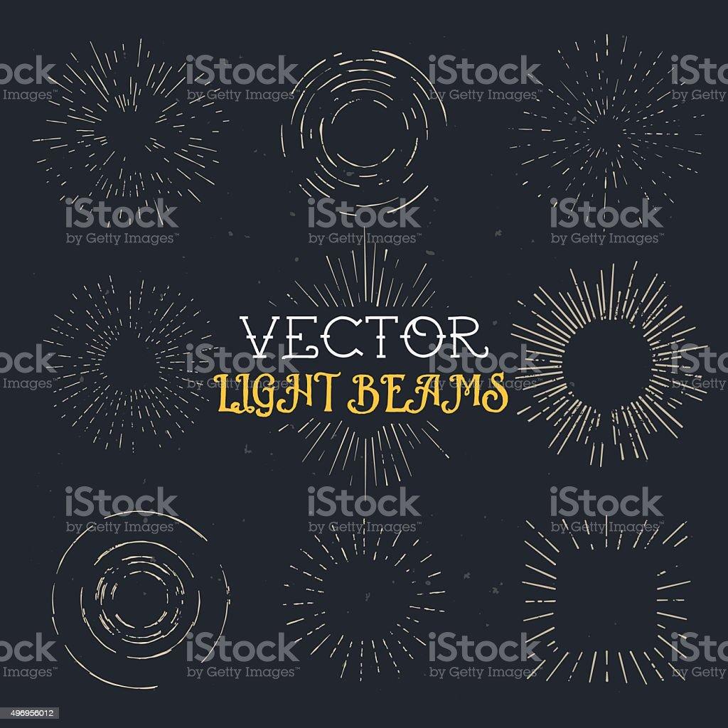 Set of vintage hand drawn ray frames, starburst template vector art illustration