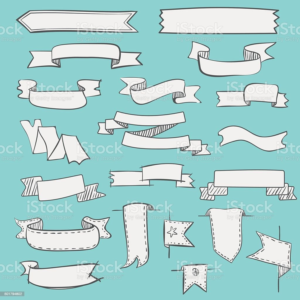Set of vintage hand drawn ribbons and labels vector art illustration