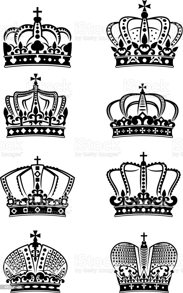 Set of vintage heraldic royal crowns royalty-free stock vector art