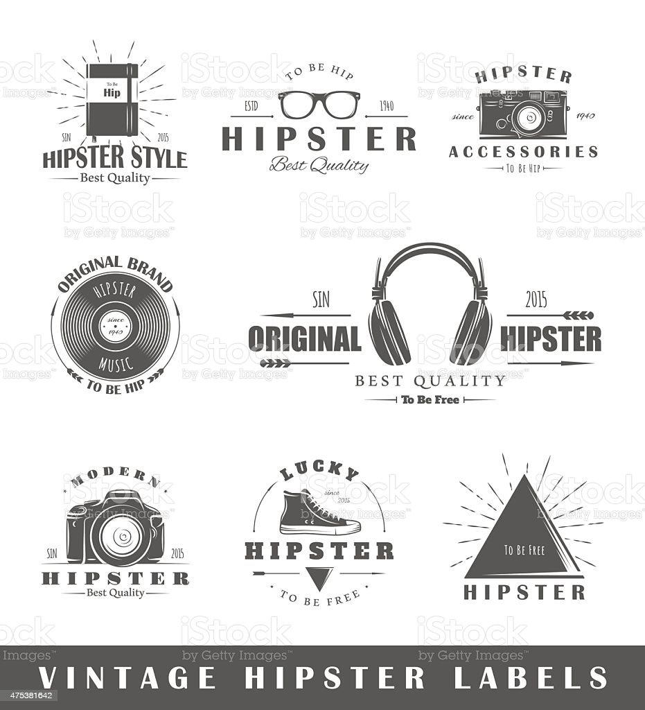 Set of vintage hipster labels vector art illustration